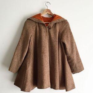 Vintage Tweed Swing Cape Coat